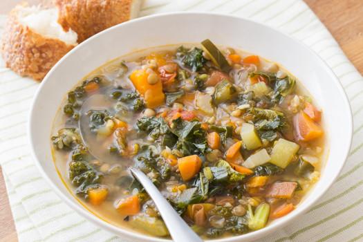 lentil minestrone vegetable soup